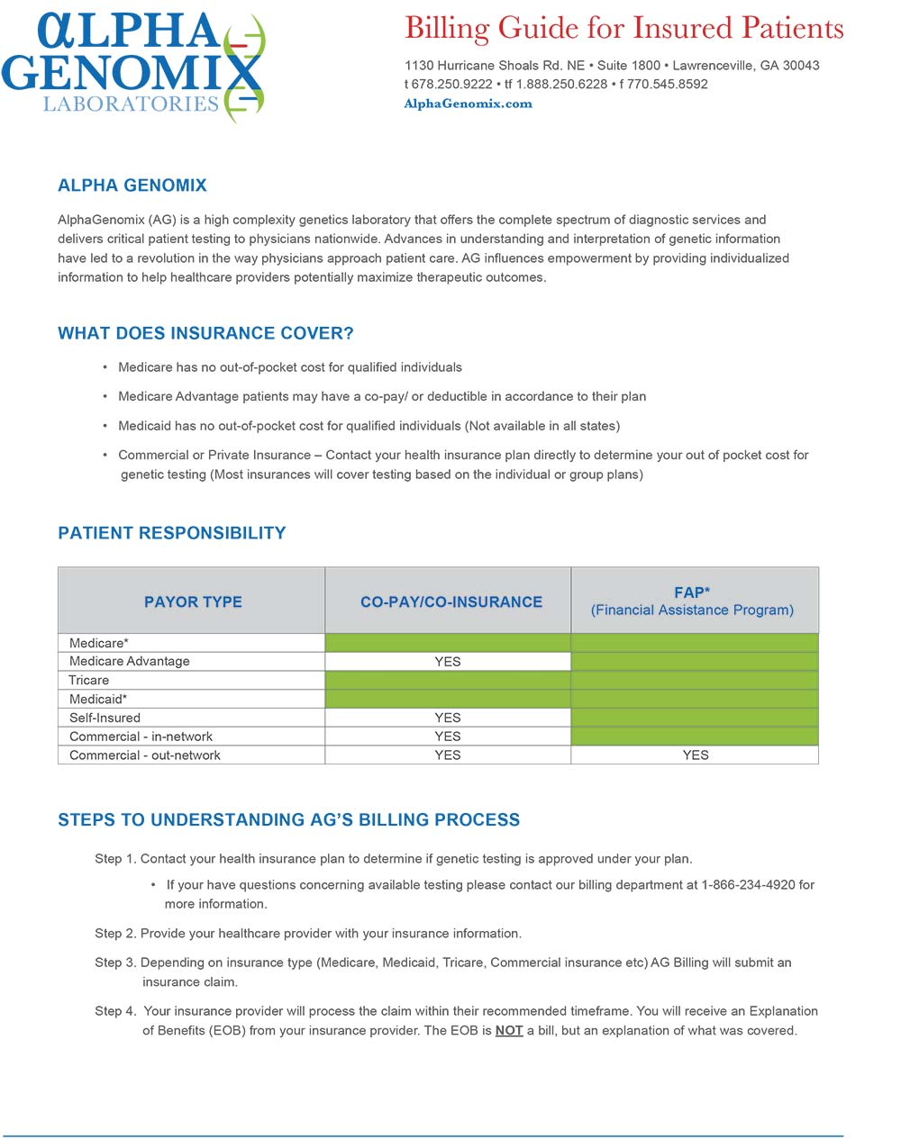 ag billing guide for insured patients